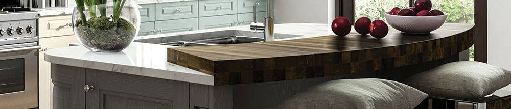 kitchen island in wood and marble