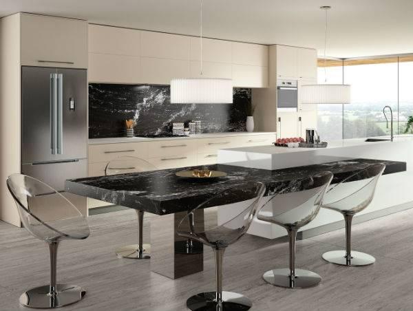 designer kitchen with perspex chairs