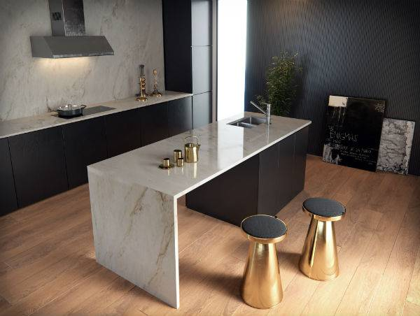 designer kitchen with gold accessories