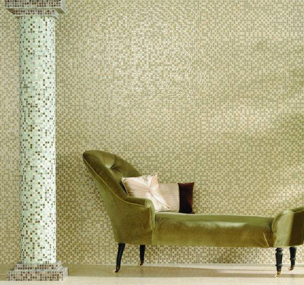 green mosaic tiles and chaise lounge
