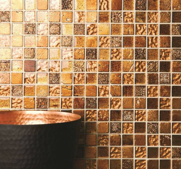 mosaic tiles in gold hues