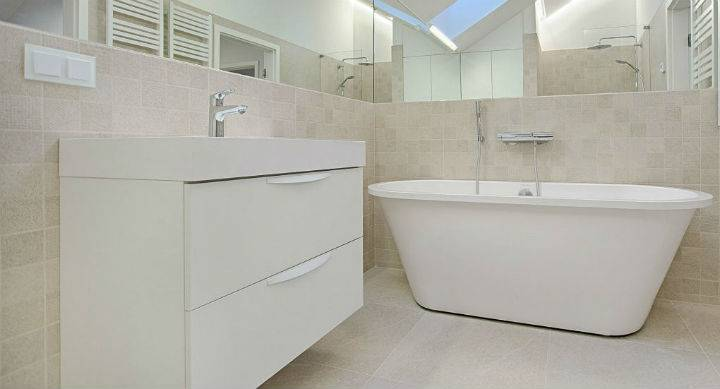 modern bathroom with freestanding bath