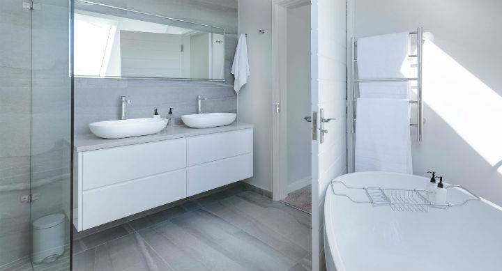 pure white designer bathroom