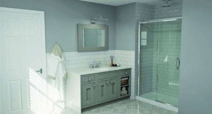 modern bathroom with shower enclosure