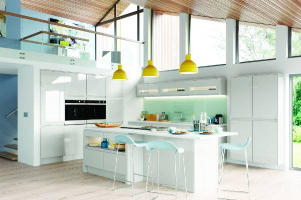 white gloss luxury kitchen