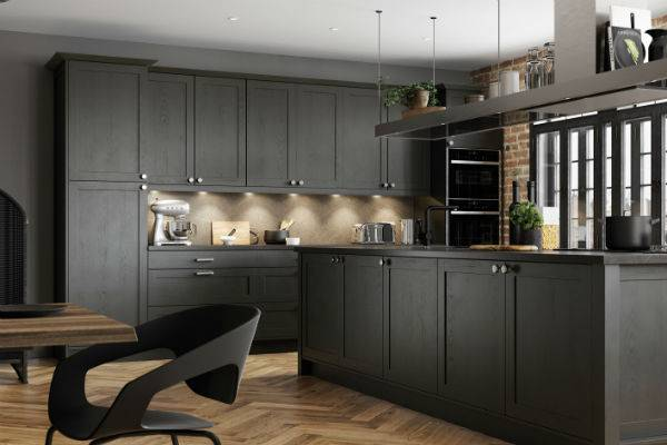 charcoal grey kitchen with wood floor